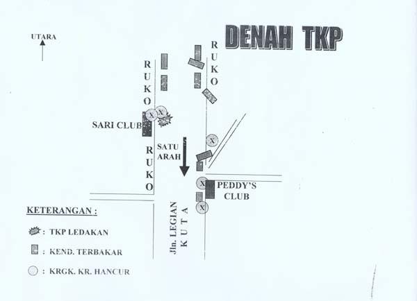 Attentats du 12 octobre 2002 à Bali: plan des lieux (source: Gouvernement de Bali).