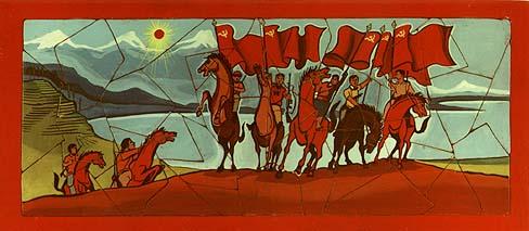Combattants révolutionnaires à cheval - mosaïque réalisée par un militant du PCP.